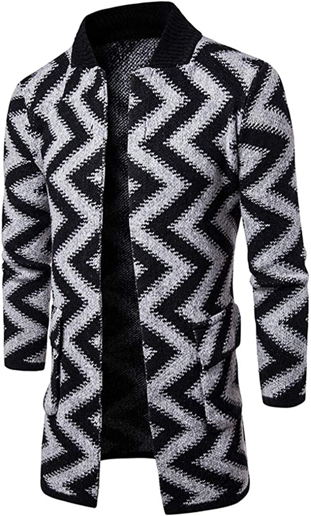 MEANIT Mens Cardigan Sweater Collar Chunky Open Front Long Sleeve Knit Slim Fit Coats with Pockets
