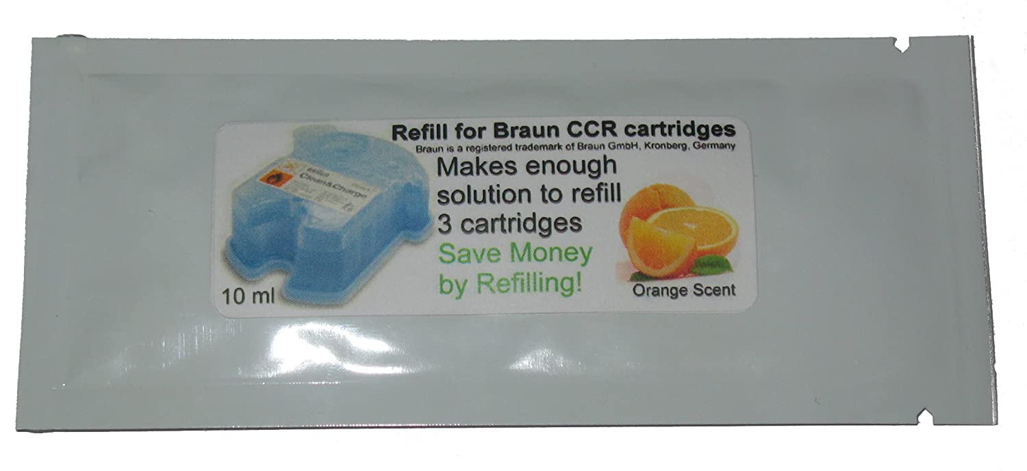 Refill Solution for Braun® Clean & Renew® CCR3 Shaver Cartridges (Orange, 1 Packet (3 refills)) CCRRefills
