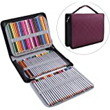 150 Slots PU Leather Fabric Pencil Case Large Capacity Zippered Pen Bag Pouch With Handle Strap Multi-Layer Art Pencils Storage Organizer Stationary Case, Purplish Red