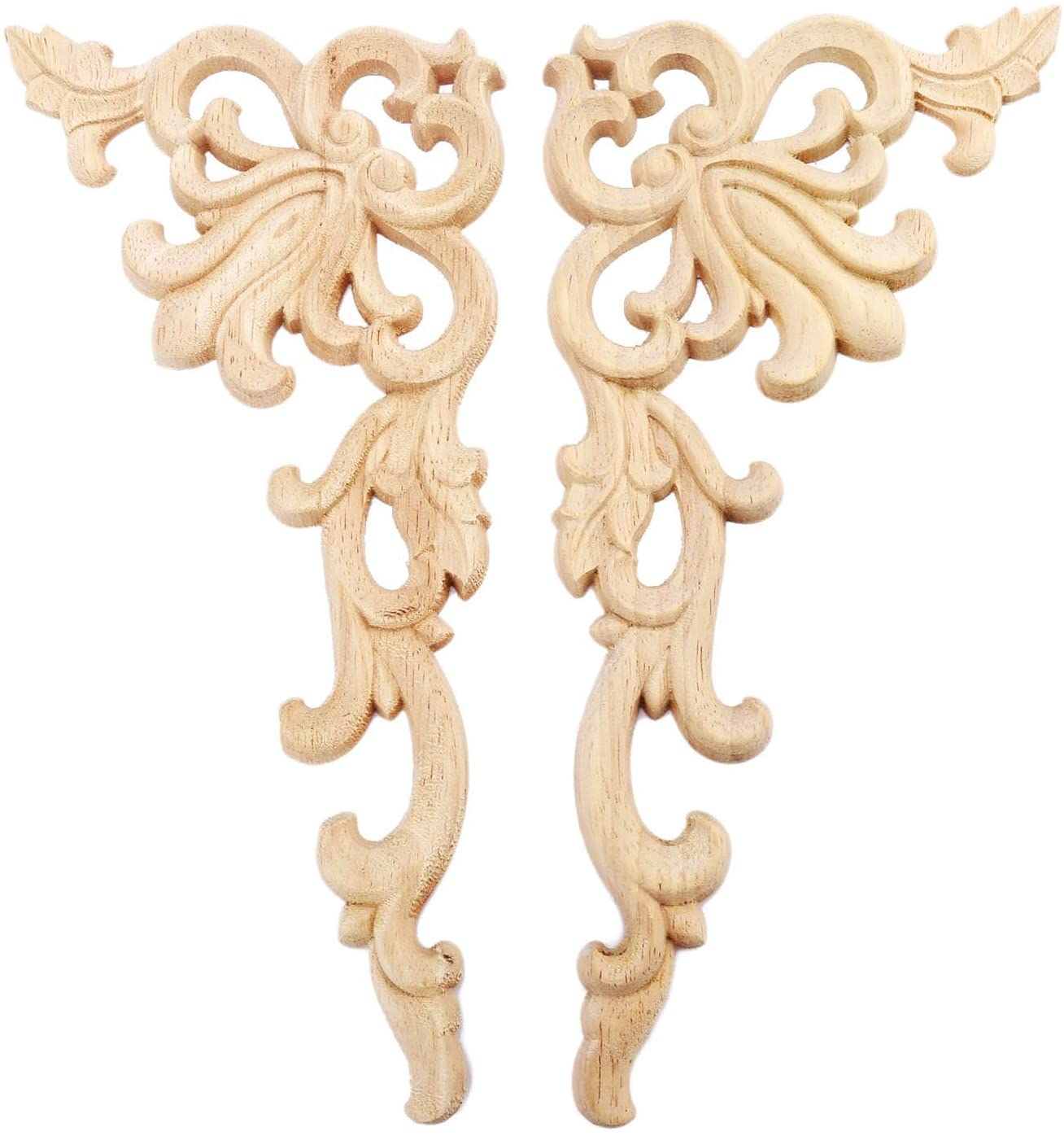MUXSAM 2Pcs Wood Carved Corner Onlay Applique for Home Furniture Door Cabinet Unpainted Safety Decoration, 20X10Cm/7.87