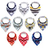 e-SMAK 10-Pack Ultra Soft Baby Bandana Drool Bibs for Drooling and Teething - 100% Natural Organic Cotton, Super Absorbent, Hypoallergenic - Unisex Multicolor Set, Surprising Gift, Enjoyable Quality