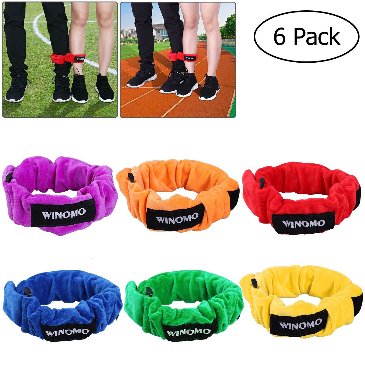 WINOMO 6 Pack 3-Legged Race Bands Elastic Tie Rope Straps for Kids Legged Race Game