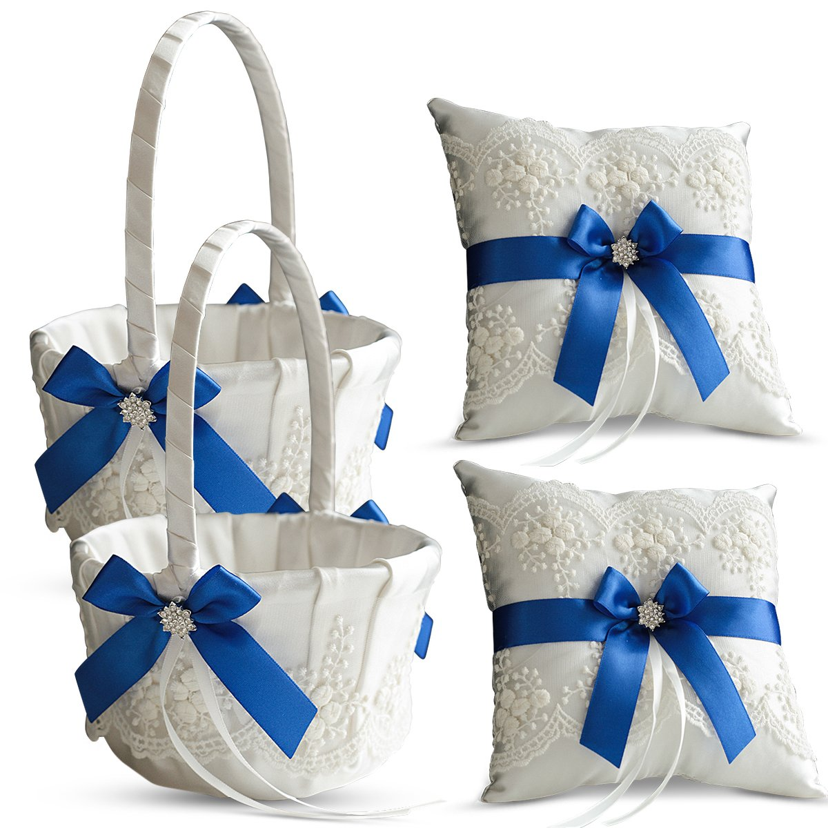 Roman Store Ivory Ring Bearer Pillow and Basket Set | Lace Collection | Flower Girl & Welcome Basket for Guest | Handmade Wedding Baskets & Pillows (Royal Blue) by Roman Store (Image #1)