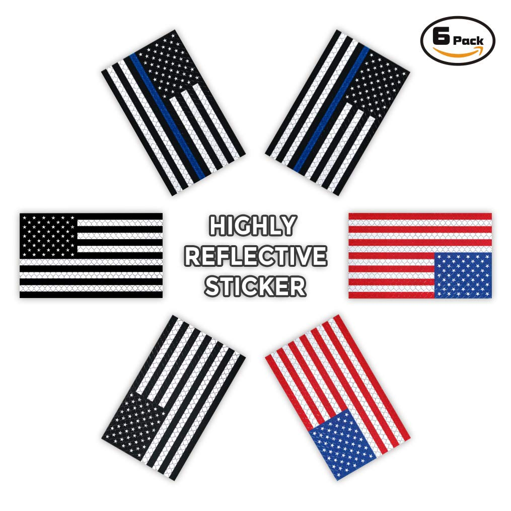 ADV-MARKET 6 Pack Reflective Safety American US Flag Sticker Sign 2