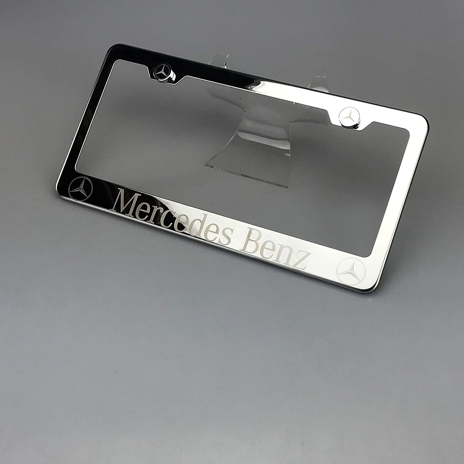 100/% Stainless Steel Fit Mercedes Benz Laser Engrave Chrome Mirror Polish License Plate Frame Holder with Logo Steel Screw Caps