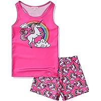 QPANCY Girls 2-Piece Tankini Swimsuits Unicorn Mermaid Bathing Suits Swimwear
