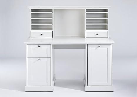 Kinderschreibtisch weiß mit aufsatz  CAVADORE Aufsatz für Schreibtisch GREENFORD / Schreibtischregal mit 2  Schubladen und viel Stauraum / kombinierbar mit Schreibtisch / weiß / 136 x  52 ...