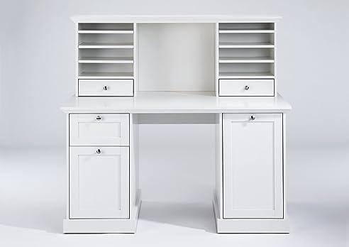 Schreibtisch weiß mit schubladen  CAVADORE Aufsatz für Schreibtisch GREENFORD / Schreibtischregal ...