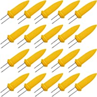 Onwon 20 Pieces Corn Holders Stainless Steel Corn On The Cob Skewers Twin Prong Cooking Fork for BBQ Barbecue Camping Picnic Home Outdoor (8.5)