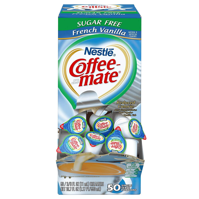 Nestle Coffee Mate Coffee Creamer, Sugar Free French Vanilla, Liquid Creamer Singles, Pack of 50 (3 Case (Pack of 50))