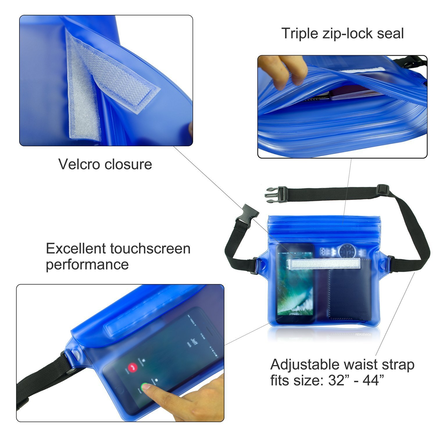 Firstbuy Waterproof Pouch with Waist Strap (2 Pack) Best Way to Keep Your Phone and Valuables Safe and Dry Perfect for Boating Swimming Snorkeling Kayaking Beach Pool Water Parks (Black + Blue)