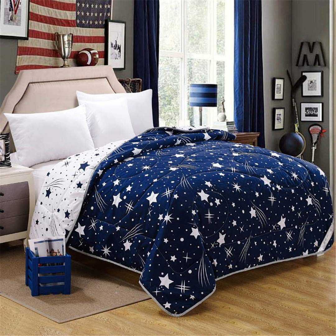 SHADEHAO Summer Quilt Stars Pattern Air Conditioning Comforter Blue Purple Thin and Soft Can Be Washable with Machine Blue 150x200cm