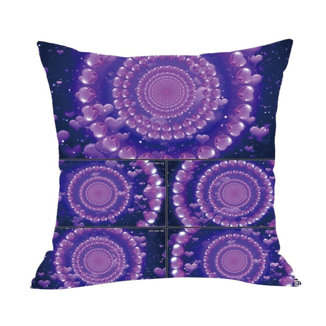 Cushion Covers, Huhua Valentine's Day Decor Cotton Linen Pillow Cases 45cm × 45cm (A)