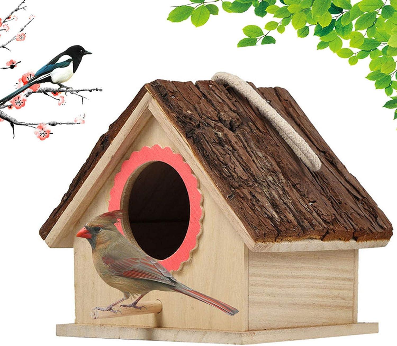kathson Wooden Bird House Hanging Hummingbird Nest Natural Cedar Outside Garden Patio Decorative for Dove Finch Wren Robin Sparrow Hummingbird