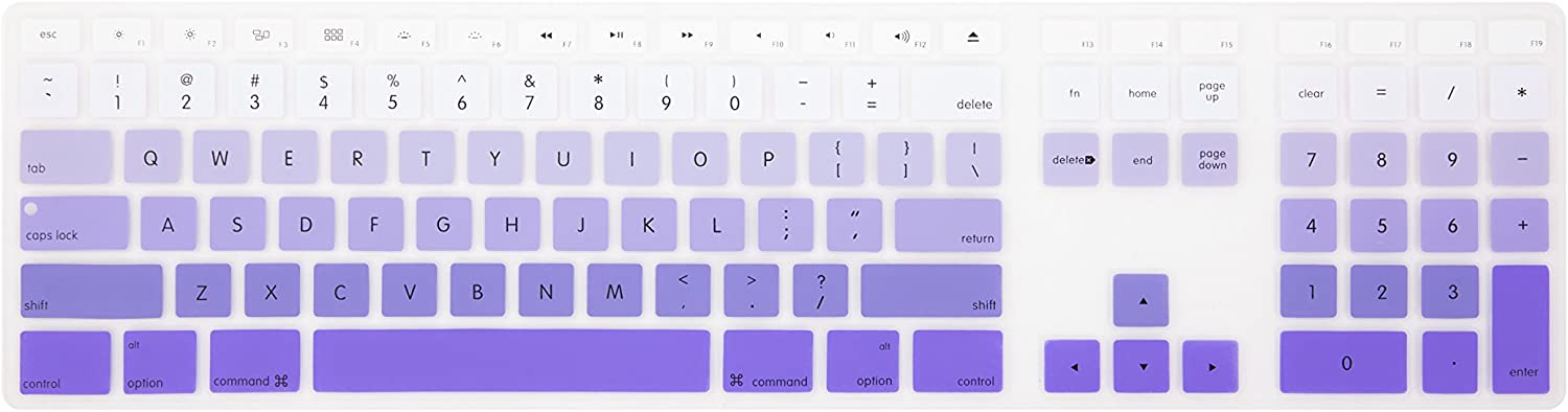 Leze - Ultra Thin Silicone Keyboard Protector Skin Cover for Apple Wired Keyboard with Numeric Keypad US Versions(MB110LL/B) - Ombre Purple