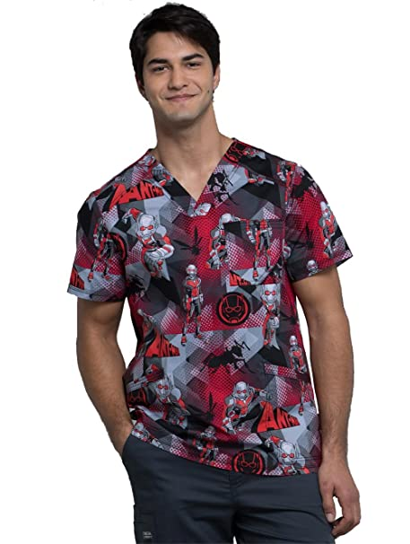 c87e0c2fe95 Image Unavailable. Image not available for. Color: Cherokee Tooniforms  Men's V-Neck Ant Man Print Scrub Top X-Small Print