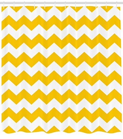 Amazon Lunarable Mustard Shower Curtain Zigzag Pattern Chevron