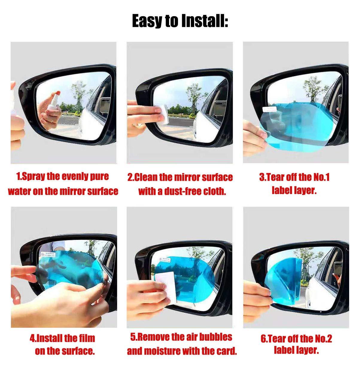 Ymwave 4pcs Car Rearview Mirror Protective Films Anti Fog Film Waterproof Transparent Film Anti Fog Anti-glare Anti Stain for Car Motorcycle