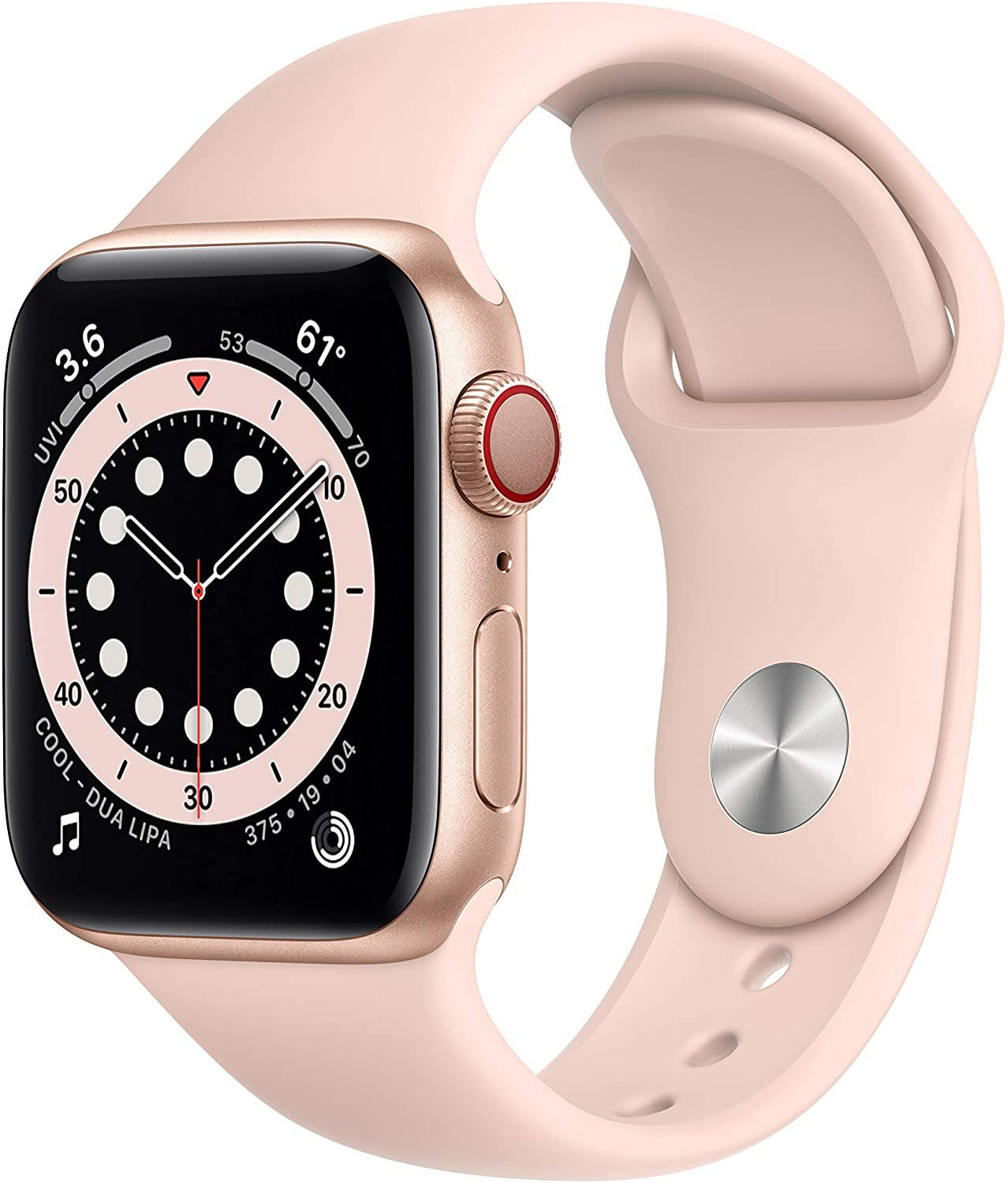 New AppleWatch Series 6 (GPS + Cellular, 40mm) - Gold Aluminum Case with Pink Sand Sport Band