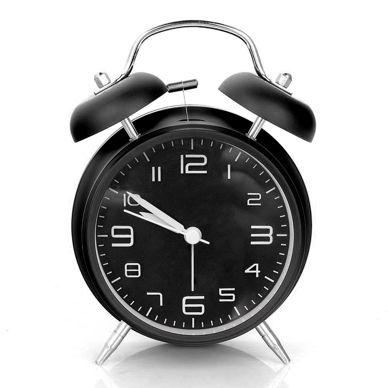 Sveglia, Aodoor sveglia metallo segnale d'allarme a volume elevato, meccanismo al quarzo, 4 pollici Grande Quadrante, funzionamento silenzioso e stile vintage (Nero)