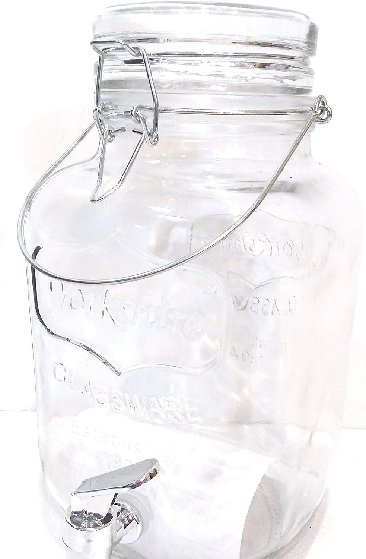 Sun Tea Mason Jar Glass Beverage Dispenser, Fun Party Wine Lemonade Sangria Water Kombucha & Cold Drinks, One gallon (Clear Square Mason)