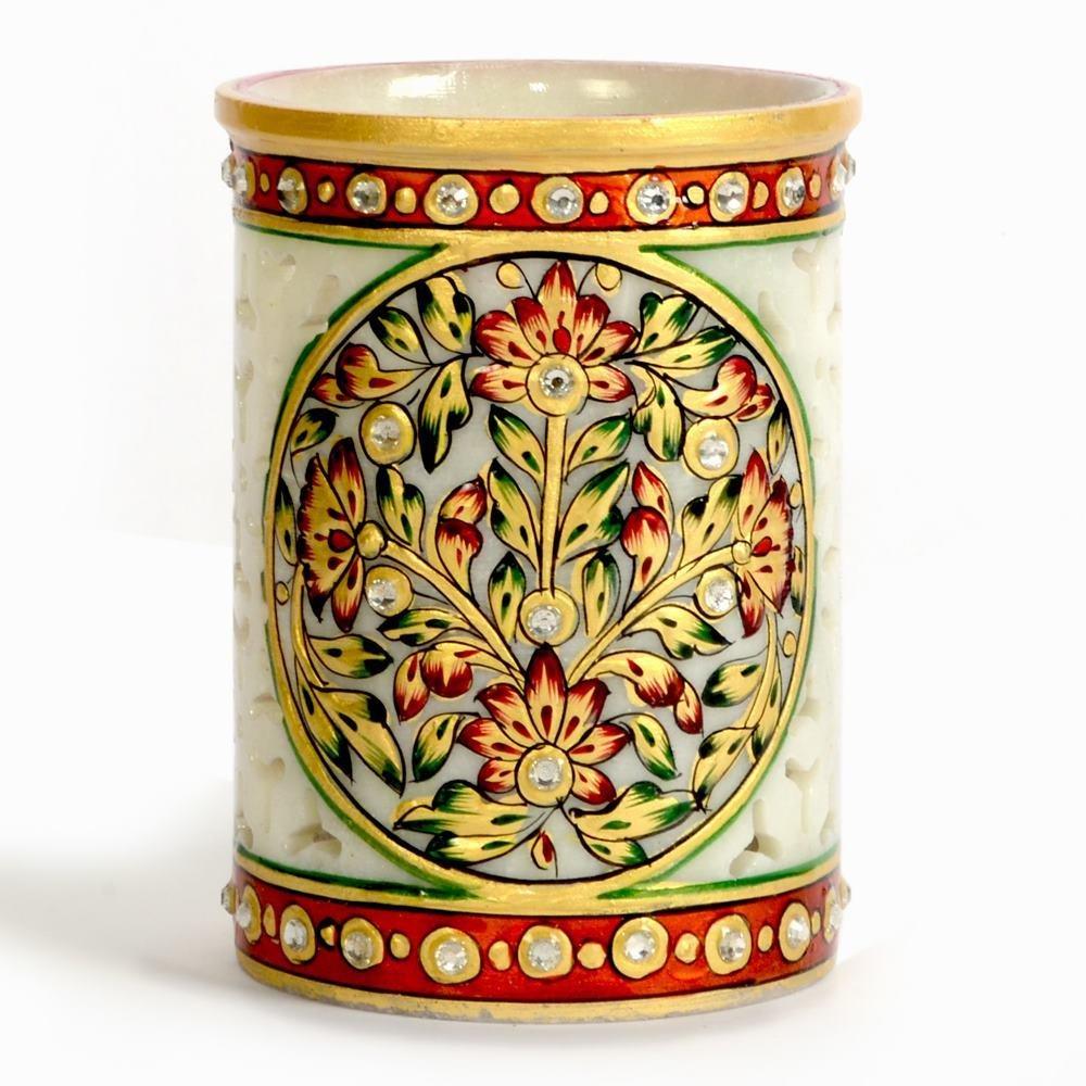 Little India Golden Meenakari Gem Studded Jali Marble Pen Stand 377