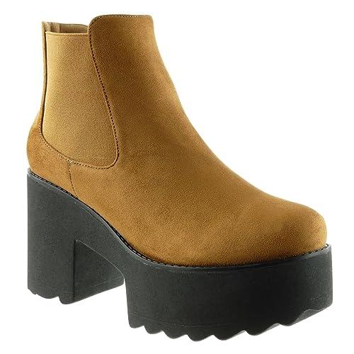 Angkorly - Zapatillas de Moda Botines Chelsea Boots Zapatillas de Plataforma Biker - Motociclistas Mujer Talón Tacón Ancho Alto 9 CM: Amazon.es: Zapatos y ...