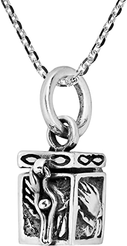Sterling Silver Floating Crystal Cube Charm Pendant Necklace .925 Multiple Sizes