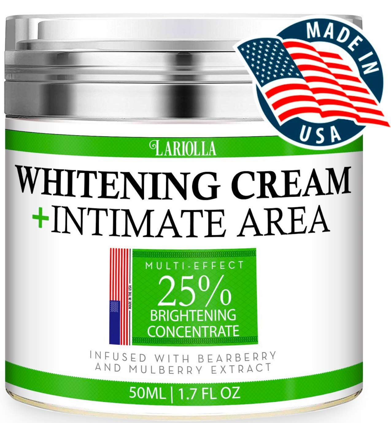 Whitening Cream - Advanced Skin Bleaching Cream for Face - Body - Intimate Areas - Underarm Whitening Cream - Private Parts - Made in USA - Melasma & Hyperpigmentation Treatment - 50 ML by Lariolla