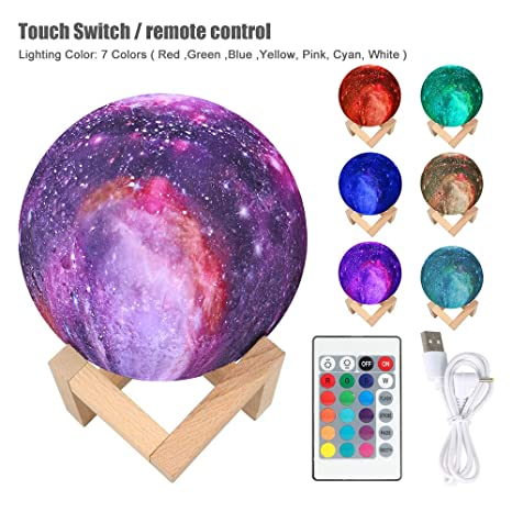 3D Printing LED Night Light Sky Galaxy Lamp Touch Remote  Control USB Charging