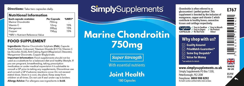 Condroitina Marina 750mg - 180 cápsulas - Hasta 3 meses de suministro - Favorece la salud de las articulaciones - SimplySupplements: Amazon.es: Salud y ...