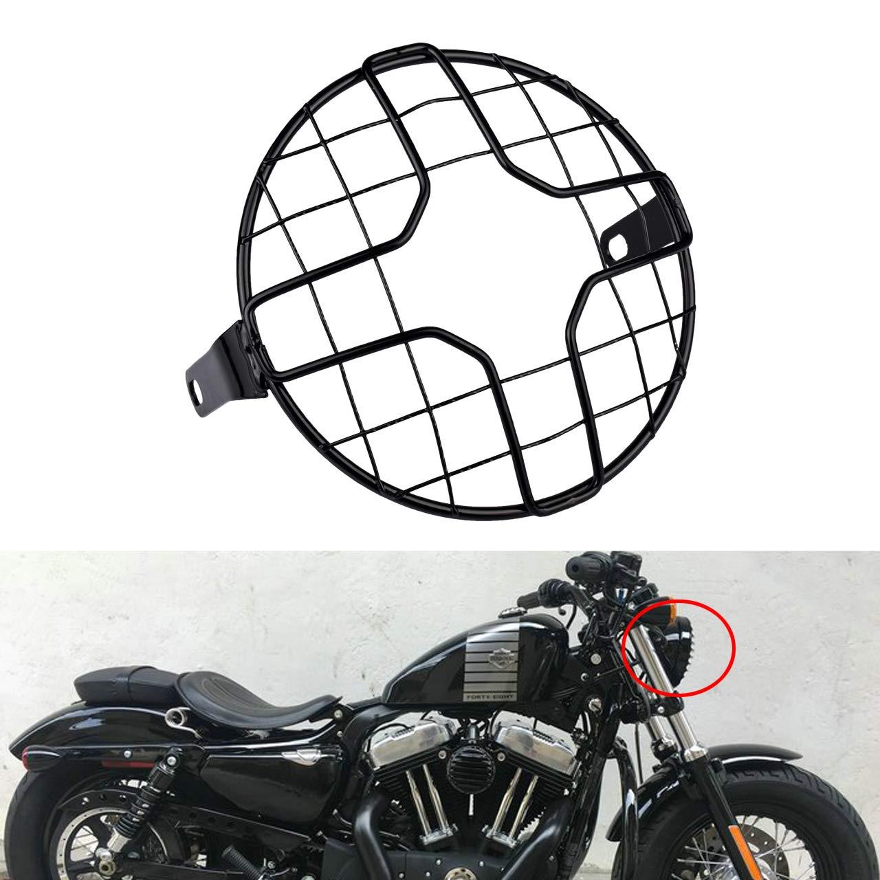 KaTur Universale 17,8/cm Moto Lampada Faro griglia Rete Mask Protector Guard Quadrato//Rhombus Cover