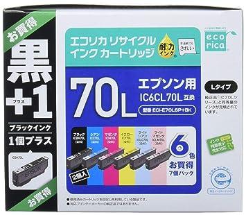 3cd5d8091b エコリカ エプソン(EPSON)対応 リサイクル インクカートリッジ IC6CL70L+70LBKECI-E70L6P+BK