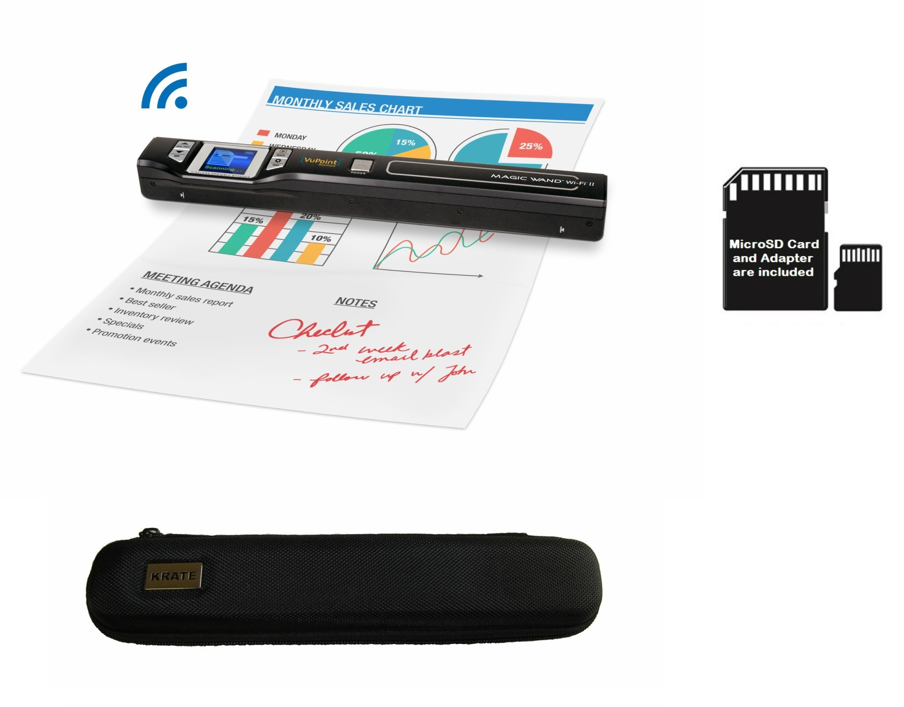 VuPoint ST47 Magic Wand Wireless Portable Scanner with Wi-Fi + 8GB MicroSD Card + Protective Carrying Case, JPEG/PDF, Color/Mono, 1.5 LCD, 1050 DPI, Document, Photo, Receipts (Black)