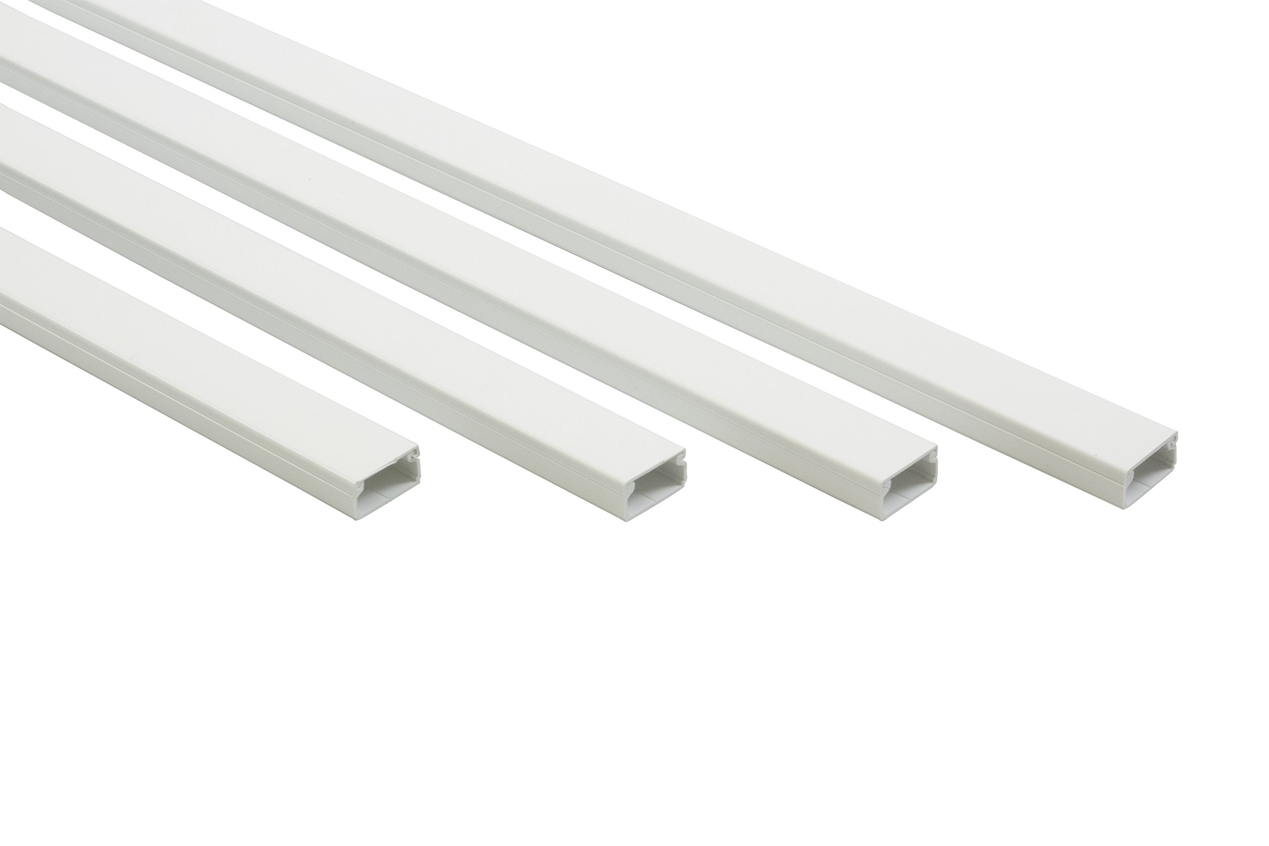 16 ft Cable Raceway Kit for Concealing and Cord Organizing - White - 0.78x0.39inch 4STRIPSx48Inches by Famatel (Image #1)