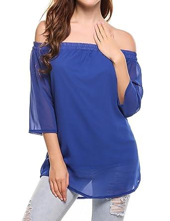 80c4c299d19 Zeagoo Women s Off Shoulder Chiffon Ruffle Long Sleeve Blouse Top(Blue ...