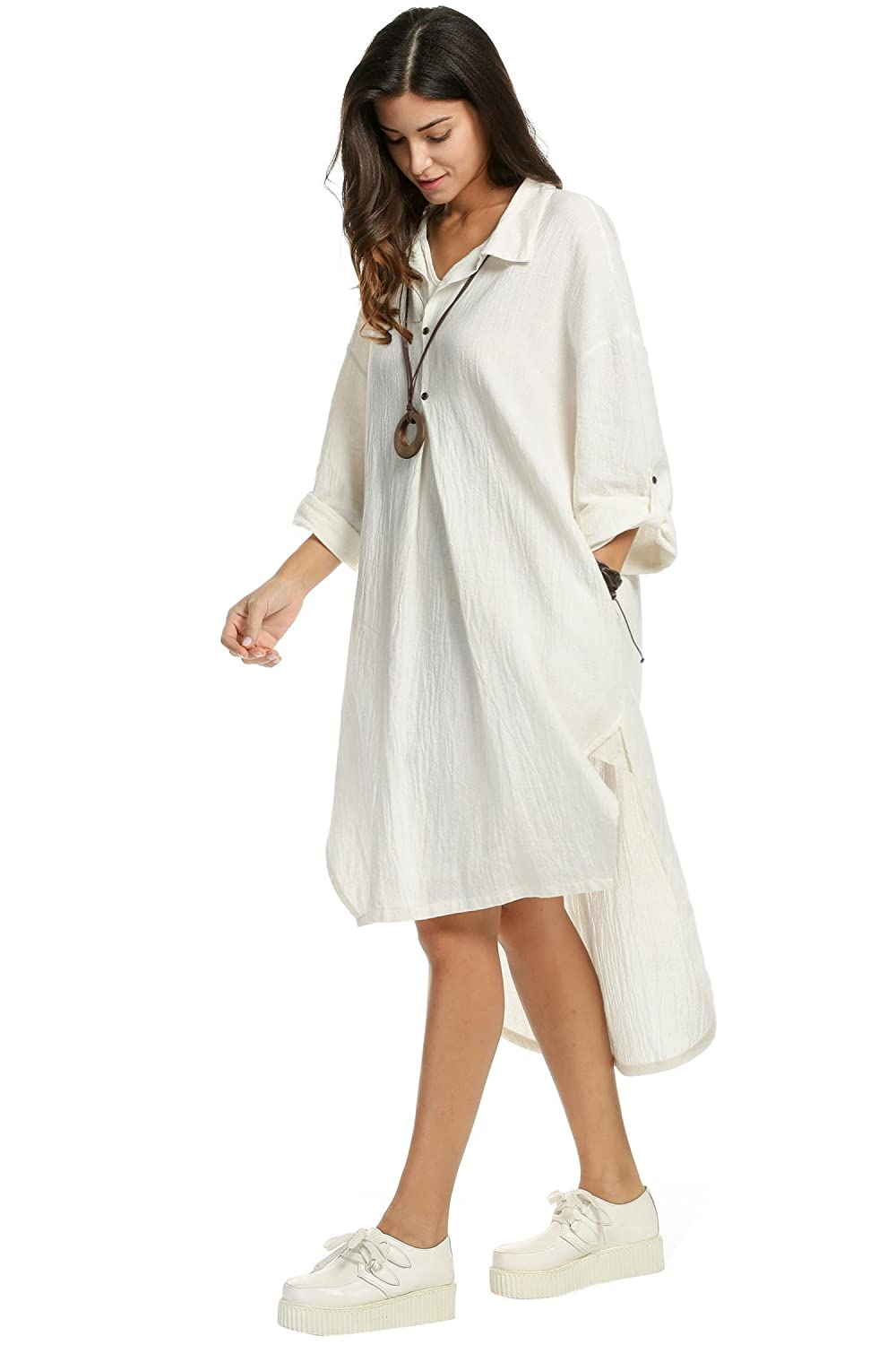 d4e638a585 Diaper Shirt Dresses for Women Plus Size Long Sleeve White Linen Dress Maxi  Dresses for Women with Pockets Dresses at Amazon Women s Clothing store
