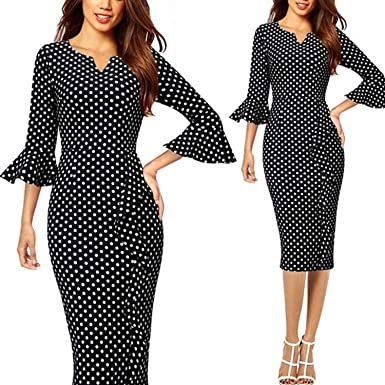 5ca88340e2 Image Unavailable. Image not available for. Color  Womens Notch V Neck  Flare Bell Sleeve Ruffles Business Cocktail Party Slim Sheath Dress