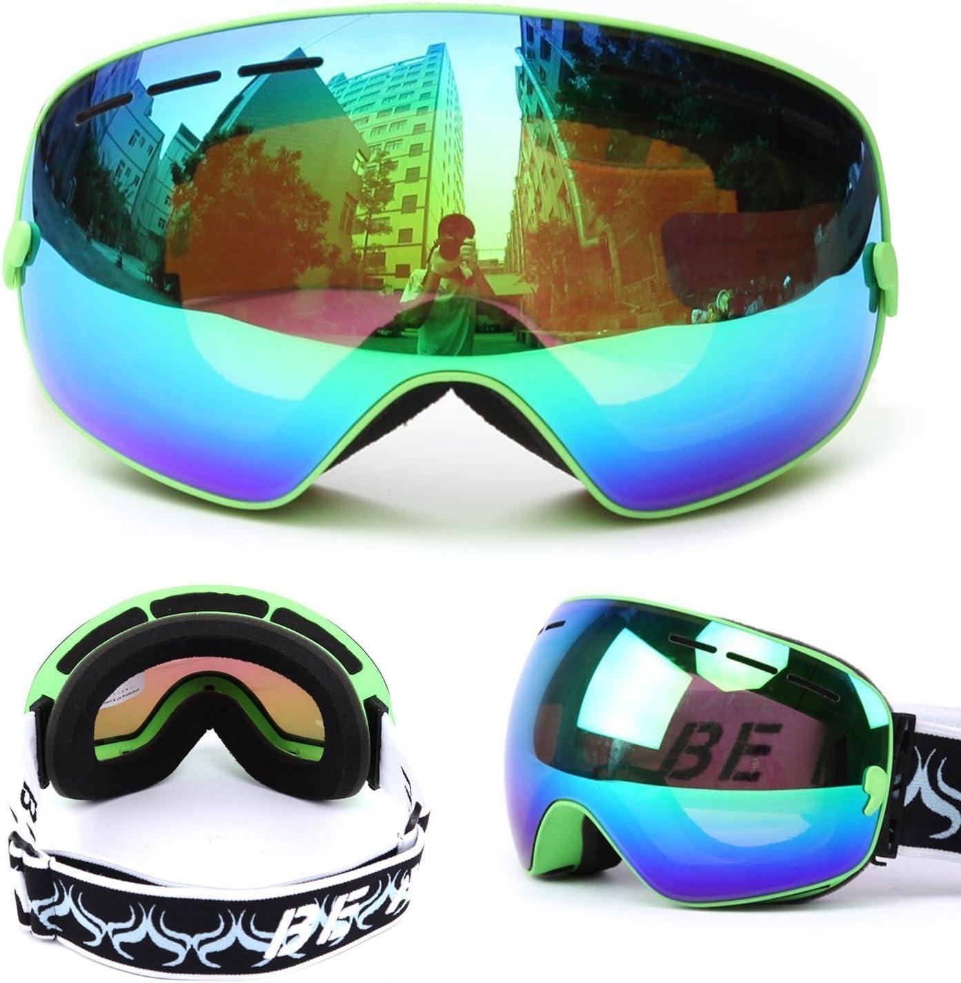Ski Goggles,Mens Womens Snow Snowboard Snowboarding Goggles Double Lens Big Spherical Over Glasses Anti Fog UV Protection Non-Slip Strap OTG Goggles for Snowboard, Skiing or Snowmobile
