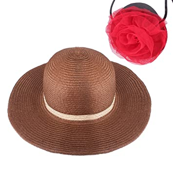 f62e3e1a Image Unavailable. Image not available for. Color: YOPINDO Girl Hat Purse  Set Straw Sun Hat Floppy Summer ...