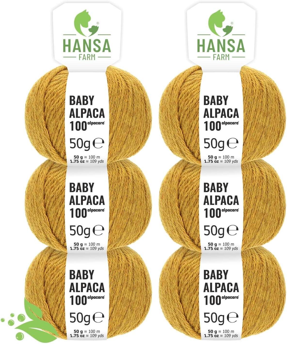 Alpacare Baby - Ovillo de lana de alpaca (100% lavable, 300 unidades, 6 x 50 g), lavable a máquina, 100% lavable, lana de alpaca sin arañazos, para punto y ganchillo, color amarillo mostaza