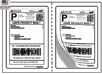 """200 Quality Perforated Round Corner Shipping Labels 2 Per Sheet 8.5/"""" x 5.5/"""""""
