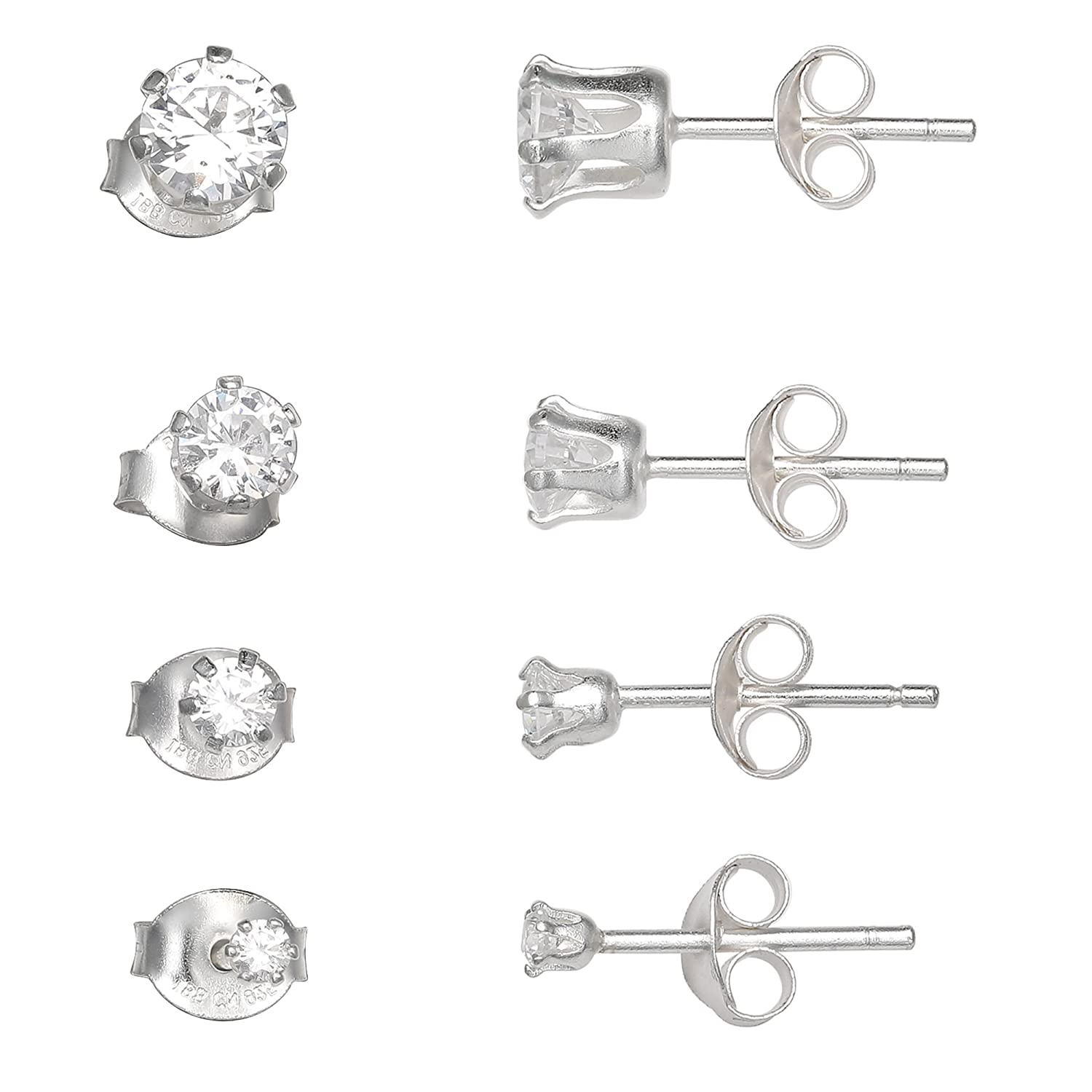 MILLA 925 Sterling Silver Cubic Zirconia 4 Pair Quad Stud Earring Set
