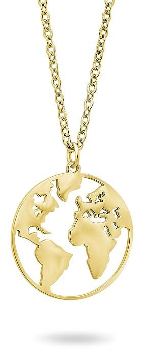 Nuoli Weltkugel Kette Gold 45 Cm Weltkarte Halskette Fur Damen