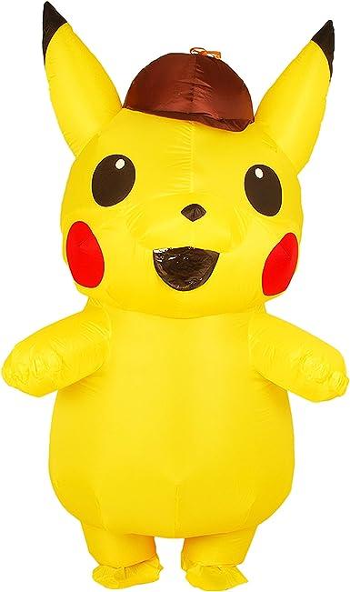 RenKeAi Disfraz de Cosplay de Pikachu Inflable para niños Adultos Disfraz de Halloween Pikachu Amarillo Nuevo Disfraz de Fiesta Inflable con soplador de Aire (Niño 120-140cm, Adulto 160-190 cm)