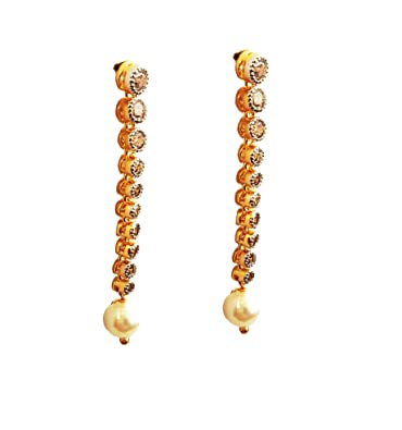 193cd5157f8e46 Jia Lifestyle - Earring 24K Gold plated for Women and Girls American  Diamond With White Pearl