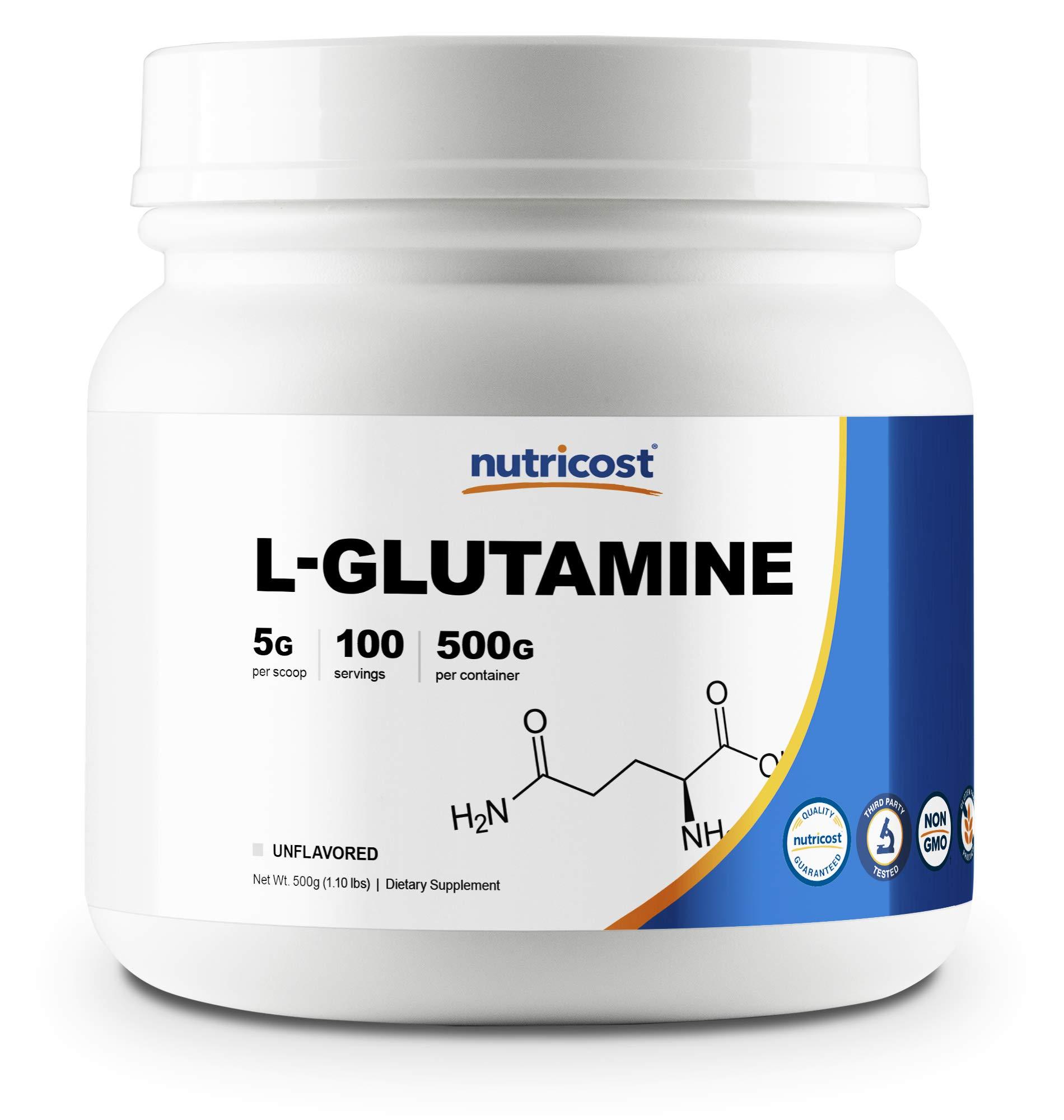 Nutricost L-Glutamine Powder (500 Grams) Unflavored - Gluten Free & Non-GMO by Nutricost