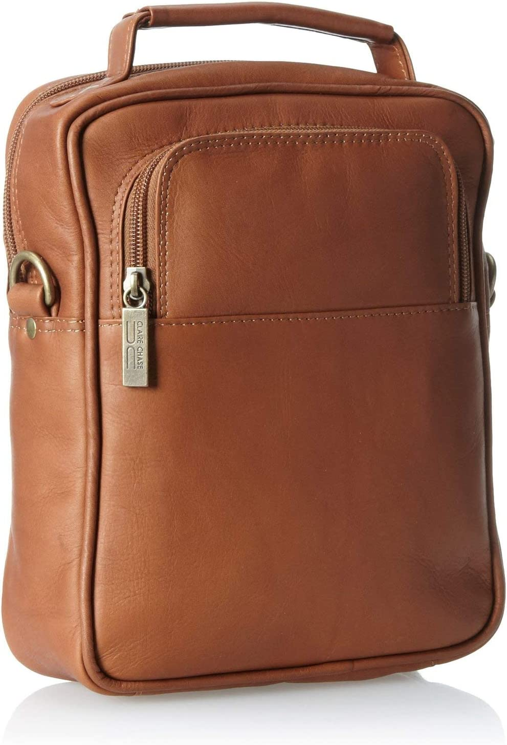Claire Chase Medium Leather Manbag in Distressed Brown