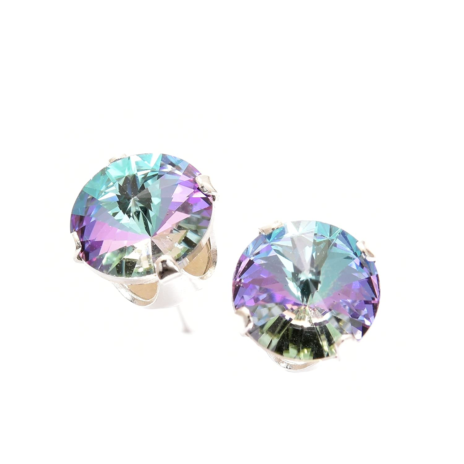 a7b5ca380 925 Sterling Silver stud earrings for women made with sparkling Starlight  crystal from Swarovski®.