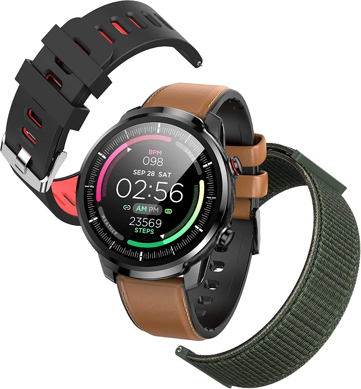 Reloj Inteligente Hombre,Hommie Smartwatch Pantalla Táctil Ccompleta IP68 Pulsera de Actividad Inteligente con Pulsómetro,Monitor de Sueño,Podómetro,GPS,Reloj Inteligente para Android y iOS, 2 Correas